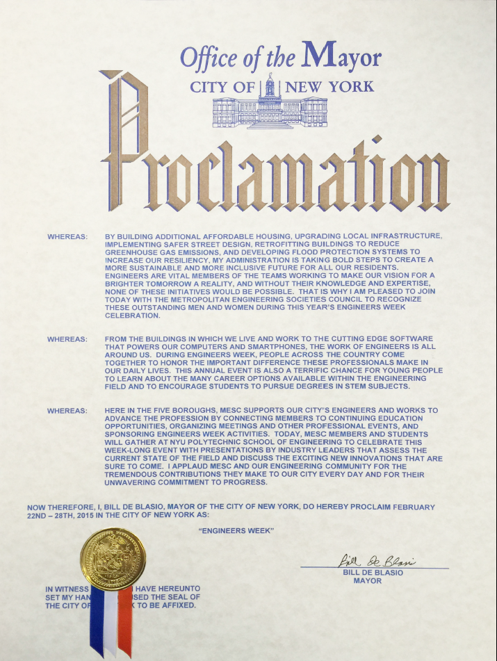 Mayor Bill de Blasio's Engineer's Week Proclamation for 2015
